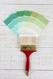 Vertical Paint Brush GreenColor  Chips Royalty Free Stock Image
