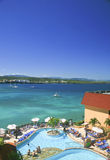 Vertical Panorama of the Bay at Sosua, Dominican Republic. A vertical panorama of the bay at Sosua, Dominican Republic with a resort and swimming pool in the Stock Photography