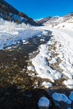 Vertical panorama of the mountain river Royalty Free Stock Images