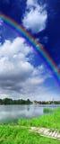 Vertical panorama with rainbow Stock Photos