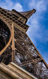 Vertical panoramic close-up of the Eiffel Tower. Paris, France Royalty Free Stock Images