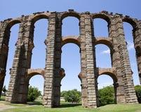 Vertical panoramic view of Roman Aqueduct. Los Milagros, Merida, Spain. East side Stock Image