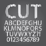 Vertical Paper Cut Alphabet and Digit Vector Stock Photos