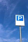 Vertical parking signal. Signal public parking seen from below Stock Image