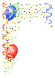 Vertical party background. With streamers and balloons stock illustration