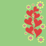 Vertical  pattern with flowers and hearts Royalty Free Stock Photo