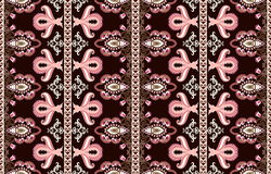 Vertical pattern with pink and brown paisley Royalty Free Stock Photography