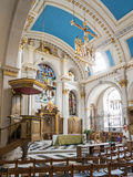 Vertical perspective of church interior, St Mary le Bow Royalty Free Stock Images