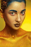 Vertical photo of beauty adult girl with multicolor make up Royalty Free Stock Photos