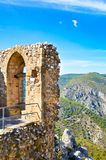 Vertical photo capturing ruins of Saint Hilarion Castle in Northern Cyprus. The popular view points offers an amazing view. Of beautiful Kyrenia region and stock images