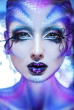 Vertical photo of fashionable model with creative make up Royalty Free Stock Images