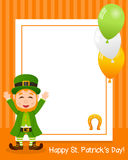 Vertical Photo Frame with Leprechaun Royalty Free Stock Image