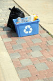 Vertical photo of garbage and recycling on curb Royalty Free Stock Images