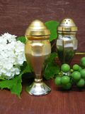 Vertical photo of oversized metal salt and pepper shakers in composition on wooden table with grapes and flower. Vertical photo of oversized metal salt and royalty free stock photography