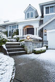 Walkway with Snow leading to Home Stock Photo