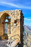 Vertical photography of the ancient ruins of St. Hilarion Castle in Northern Cyprus. The view point offers an amazing view. Of Cypriot Kyrenia region and royalty free stock photos