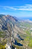Vertical picture of beautiful Kyrenia region and Mediterranean in Northern Cyprus taken from the ancient Saint Hilarion Castle. The Kyrenia mountain range by stock images