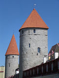 Vertical Picture of Medieval City Wall Towers, Tallinn, Estonia Royalty Free Stock Images