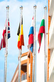 Vertical picture of national flags Royalty Free Stock Photos