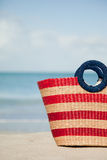 Vertical picture of striped beach bag Royalty Free Stock Photography
