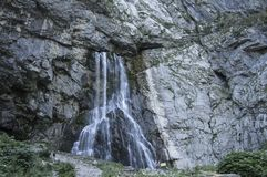 Vertical picturesque natural landscape mountain waterfall royalty free stock photography
