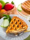 Vertical piece of american apple tart pie golden crust holiday dessert Stock Photo