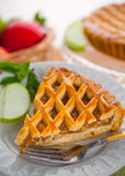 Vertical piece of american apple tart pie golden crust holiday dessert Royalty Free Stock Images