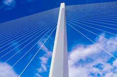 Vertical pillar of suspension bridge Stock Photos