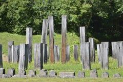 Vertical pillars in the central piece of the Sarmizegetusa Regia Sanctuary Royalty Free Stock Photos