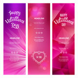 Vertical Pink Banners on St. Valentine's Day. Set of Beautiful Vertical Pink Banners on St. Valentine's Day. Vector Decorative Backgrounds Royalty Free Stock Photography