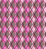 Curves, abstract, decorative background, seamless, Magenta vector. Vertical pink diamonds with rounded corners on a gray field. Geometric background Stock Image