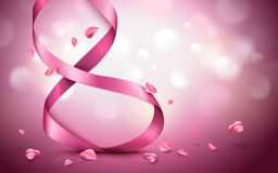 Vertical pink ribbon Royalty Free Stock Images