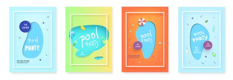 Vertical Pool Party flyers. Vector illustration. royalty free illustration