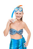 Vertical portrait of active girl with scuba mask on white Royalty Free Stock Image
