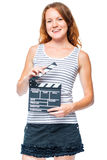 Vertical portrait of the assistant on the set with the clapper Royalty Free Stock Photo