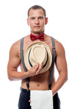 Vertical portrait of a beautiful and sexy stripper. In suspenders Stock Photography