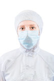 Vertical portrait of a biochemist in a protective suit Stock Images