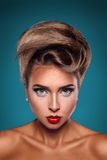 Vertical portrait of caucasian woman with unusuall hairstyle Royalty Free Stock Photo