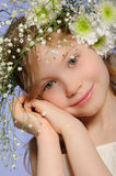 Vertical portrait girl with wreath of flowers Royalty Free Stock Image