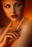 Vertical portrait of pretty adult woman with brown Royalty Free Stock Photography