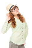 Vertical portrait of stylish girl in a hat Royalty Free Stock Photography