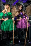 Vertical portrait of two enchanting witch with brooms Stock Photography
