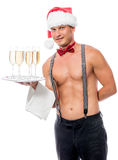 Vertical portrait of the waiter with champagne Royalty Free Stock Photo