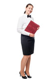 Vertical portrait of a waitress in full length in the studio Stock Image