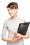 Vertical portrait of a woman office worker Stock Images