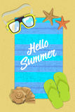 Vertical postcard hello summer on beach with inscription Royalty Free Stock Photo
