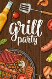 Vertical poster with bbq. Grill party calligraphic handwriting lettering. Shrimp, tomato, pepper, fish, sausage, chicken leg, steak. White and color vector