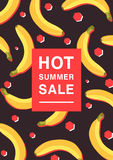 Vertical poster on hot summer sale theme. Bright promotional flyer with bananas, red polygons and inscription. Colorful. Advertising vector illustration on a Royalty Free Stock Photo