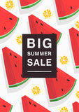 Vertical poster on hot summer sale theme. Bright promotional flyer with slices watermelon, orange and inscription. Colorful advertising vector illustration Royalty Free Stock Image