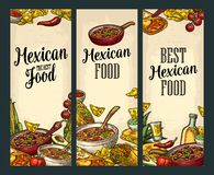 Vertical poster with Mexican traditional food and ingredient. Vertical posters with Mexican traditional food and ingredient. Guacamole, Quesadilla, Enchilada Royalty Free Stock Photos